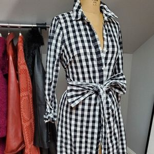 Gingham Black and White Dress